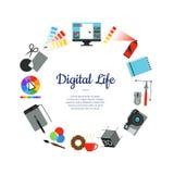 Concetto digitale del cerchio delle icone di progettazione di arte di vettore illustrazione di stock