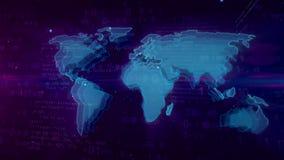 Concetto digitale del Cyberspace con la mappa di mondo illustrazione di stock