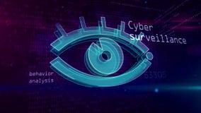 Concetto digitale di sorveglianza cyber con l'occhio della spia royalty illustrazione gratis