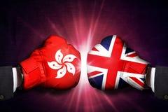 Concetto diplomatico e commerciale fra il Regno Unito e Hong Kong fotografie stock libere da diritti