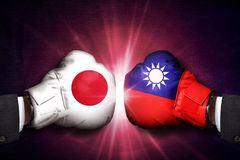 Concetto diplomatico e commerciale fra Taiwan ed il Giappone fotografia stock