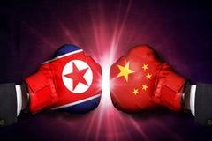 Concetto diplomatico fra la Corea del Nord e la Cina fotografia stock libera da diritti