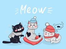 Concetto divertente di vettore dei gatti nella progettazione piana Immagine Stock Libera da Diritti