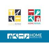 Concetto domestico creativo di riparazione, modello di progettazione di logo isolato illustrazione vettoriale