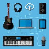 Concetto domestico dello studio di musica. Progettazione piana Fotografia Stock Libera da Diritti