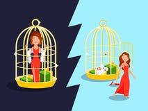 Concetto dorato della gabbia di matrimonio royalty illustrazione gratis