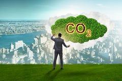 Concetto ecologico delle emissioni di gas effetto serra fotografia stock libera da diritti