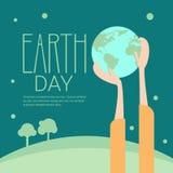Concetto ecologico globale di festa di protezione del mondo di giornata per la Terra del globo della tenuta della mano illustrazione di stock