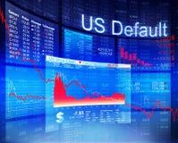 Concetto economico di attività bancarie del mercato azionario di crisi di difetto degli Stati Uniti Fotografia Stock Libera da Diritti