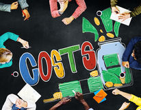 Concetto economico di investimento del bilancio del capitale di costi Fotografia Stock Libera da Diritti