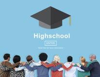 Concetto educativo della High School del diploma di grado Fotografia Stock