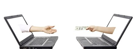 Concetto elettronico del trasferimento di denaro Fotografie Stock