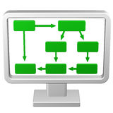 Concetto: Esposizione del diagramma di flusso rappresentazione 3d Fotografie Stock