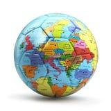Concetto europeo di campionato Palla di calcio o di calcio con la mappa Immagini Stock Libere da Diritti