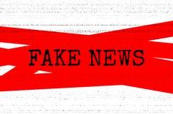 Concetto falso di notizie Illustrazione rossa e in bianco e nero di vettore con struttura della fotocopia di lerciume immagine stock libera da diritti