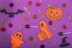 Concetto felice della carta di Halloween Tagliato della zucca di carta per una progettazione del partito Fotografia Stock Libera da Diritti