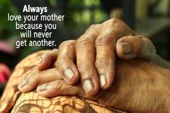 Concetto felice di giorno di madri Mani senior asiatiche immagini stock libere da diritti