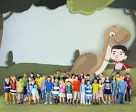 Concetto felice di immaginazione di infanzia dei bambini dei bambini Fotografie Stock Libere da Diritti
