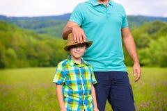 Concetto felice di tempo del figlio e del padre Fotografia Stock Libera da Diritti