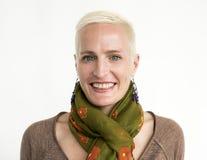 Concetto felice femminile di espressione del fronte Immagini Stock Libere da Diritti
