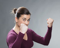 Concetto femminile di successo per la donna energetica 30s Fotografia Stock Libera da Diritti