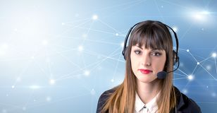 Concetto femminile di telemarketer immagini stock libere da diritti