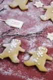 Concetto festivo di cottura di Natale con i biscotti del pan di zenzero Fotografia Stock Libera da Diritti