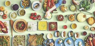 Concetto festivo di unità del partito del ristorante dell'alimento Immagine Stock