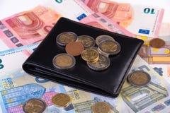 Concetto finanziario dei soldi dell'euro e del portafoglio Fotografia Stock