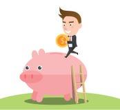 Concetto finanziario del carattere piano divertente Immagini Stock