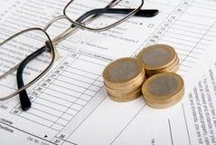 Concetto finanziario di affari della forma di imposta Fotografia Stock Libera da Diritti