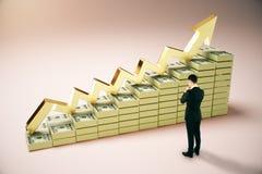 Concetto finanziario di crescita con la persona di affari Immagini Stock Libere da Diritti