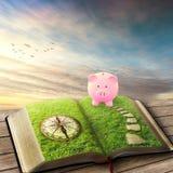 Concetto finanziario di risparmio di insegnamento superiore Libro di porcellino salvadanaio Fotografia Stock