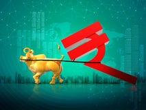 Concetto finanziario di successo di crescita di affari, toro dorato che trascina simbolo della rupia indiana, fondo dell'estratto illustrazione vettoriale