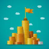 Concetto finanziario di vettore di direzione con i mucchi della moneta nello stile piano illustrazione vettoriale