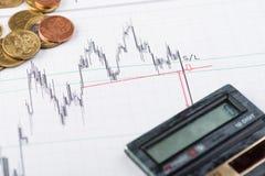 Concetto finanziario, monete e documenti Immagine Stock Libera da Diritti