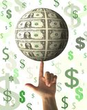 Concetto finanziario - piovere soldi Fotografia Stock Libera da Diritti