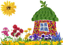 Concetto floreale della casa di eco Immagine Stock