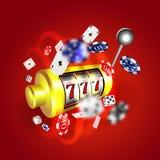 Concetto fortunato 777 di posta dei sevens dello slot machine Gioco del casinò di vettore Slot machine con le monete dei soldi Fotografia Stock