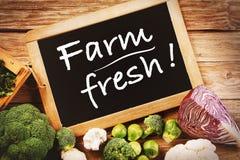 Concetto fresco delle verdure dell'azienda agricola con il bordo di gesso Fotografia Stock Libera da Diritti