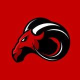 Concetto furioso di logo di vettore del club di sport della ram isolato su fondo rosso Immagine Stock Libera da Diritti