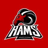Concetto furioso di logo di vettore del club di sport della ram su fondo rosso Fotografia Stock
