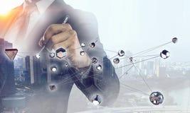 Concetto futuristico del collegamento senza fili Media misti Immagine Stock