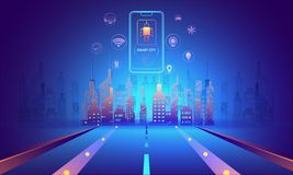 Concetto futuristico della città astuta, illustrazione di paesaggio urbano w illustrazione di stock