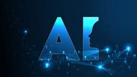 Concetto futuristico di AI di intelligenza artificiale Grande visualizzazione umana di dati con la mente cyber Apprendimento prof royalty illustrazione gratis