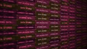 Concetto futuristico di tecnologia del server di Digital - concetto minaccioso V2 del data mining video d archivio