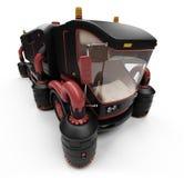Concetto futuro della vista isolata camion di lavaggio Fotografie Stock
