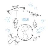 Concetto futuro di consegna di tecnologia di schizzo royalty illustrazione gratis
