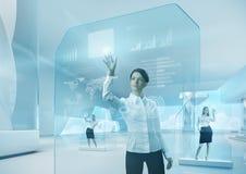Concetto futuro di lavoro di squadra. Interfaccia futura dello schermo attivabile al tatto di tecnologia Fotografia Stock Libera da Diritti