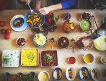 Concetto gastronomico culinario del partito di buffet di cucina di approvvigionamento dell'alimento fotografia stock libera da diritti